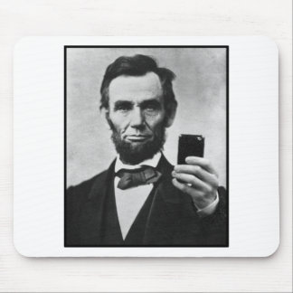 Abraham Lincoln with Cell Phone Mouse Pad