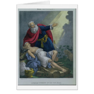 Abraham Offering Up his Son Isaac, from a Bible pr Card