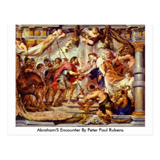 Abraham'S Encounter By Peter Paul Rubens Postcard