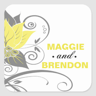 Abraxas Abstract Floral Favor | yellow charcoal Square Sticker