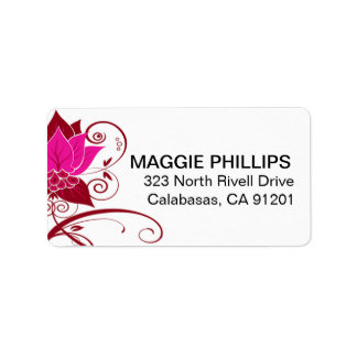 Abraxas Abstract Floral   fuschia oxblood Address Label