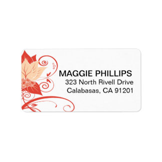 Abraxas Abstract Floral | peach coral Address Label