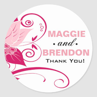 Abraxas Abstract Floral Thank You | pink magenta Round Sticker