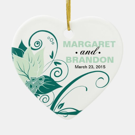 Abraxas Abstract Floral Wedding Photo mint Christmas Ornaments
