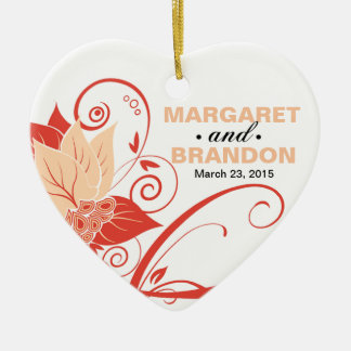 Abraxas Abstract Floral Wedding Photo peach Christmas Ornaments