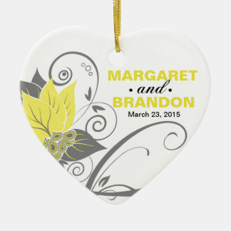 Abraxas Abstract Floral Wedding Photo yellow Ceramic Heart Decoration
