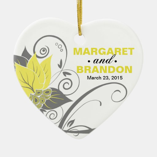 Abraxas Abstract Floral Wedding Photo yellow Christmas Tree Ornaments