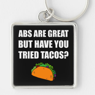ABS Great Tried Tacos Silver-Colored Square Key Ring