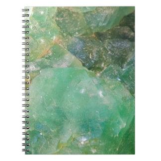 Absinthe Green Quartz Crystal Spiral Notebook