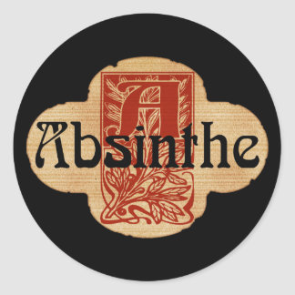 Absinthe Imaginary Bottle Lable Classic Round Sticker
