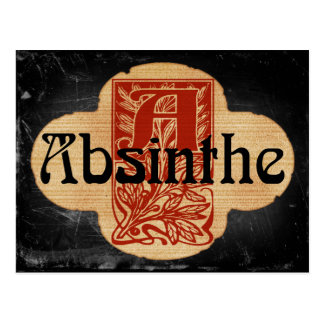 Absinthe Imaginary Bottle Lable Postcard