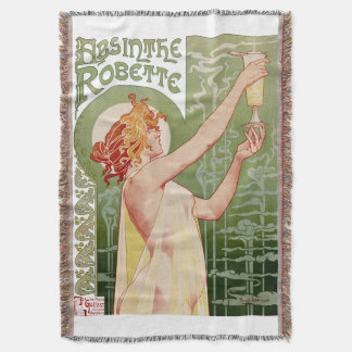Absinthe Robette 1896 Vintage Poster Restored Throw Blanket