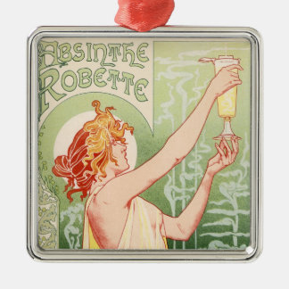 Absinthe Robette - Alcohol Vintage Poster Silver-Colored Square Decoration