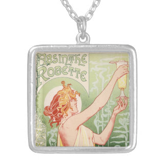 Absinthe Robette - Alcohol Vintage Poster Silver Plated Necklace