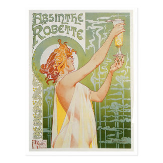 Absinthe Robette Vintage Drink Ad Art Postcard