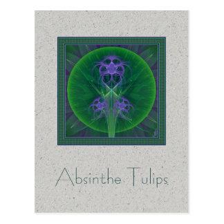 Absinthe Tulips Mandala Postcard