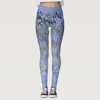 Absract Blue and Gray Leggings