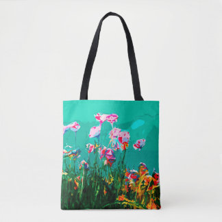 Absract floral painting tote