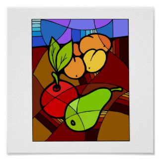 Abstact Fruit Kitchen Decor 15x15 Poster