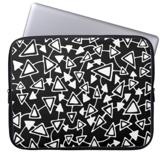 Abstract 021112 - White on Black Laptop Sleeve