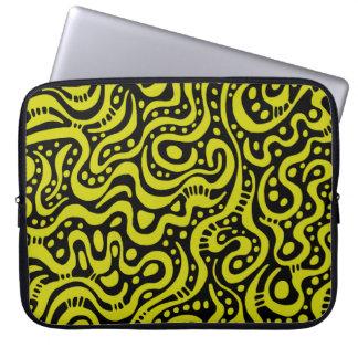 Abstract 041211 - Banana Yellow on Black Computer Sleeves