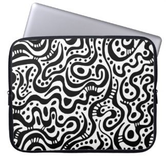 Abstract 041211 - Black and White Laptop Computer Sleeve