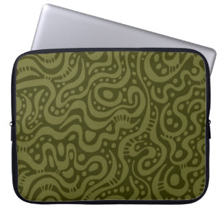 Abstract 041211 - Dp Olive on Dk Olive Laptop Sleeves