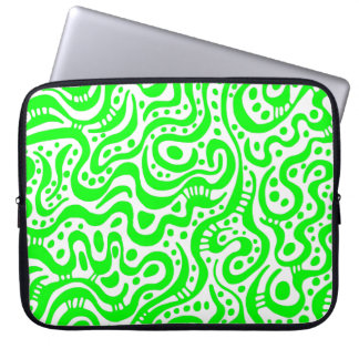 Abstract 041211 - Green and White Computer Sleeve