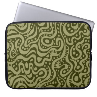 Abstract 041211 - Khaki on Dk Olive Laptop Computer Sleeve