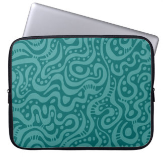 Abstract 041211 - Ocean Green on Moss Green Laptop Computer Sleeves