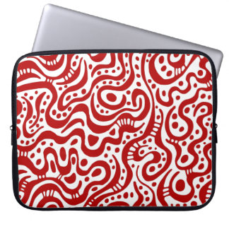 Abstract 041211 - Ruby on White Laptop Sleeves