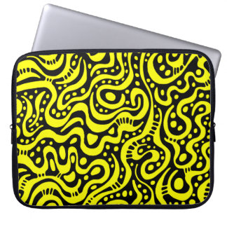 Abstract 041211 - Yellow and White Laptop Computer Sleeve