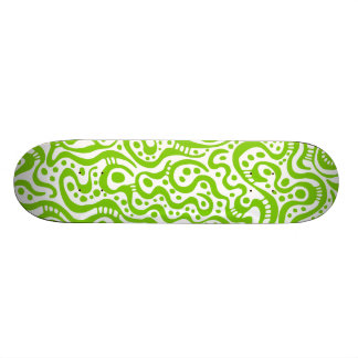 Abstract 041211v3 - Martian Green on White Skate Deck