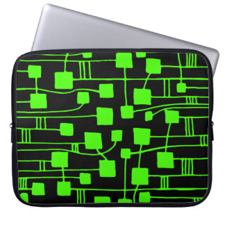 Abstract 111211 - Chartreuse Green on Black Computer Sleeve