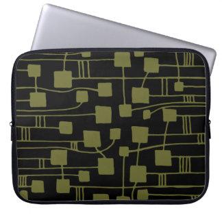 Abstract 111211 - Deep Olive on Black Laptop Sleeve
