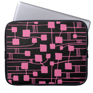 Abstract 111211 - Dusty Rose on Black Laptop Computer Sleeves