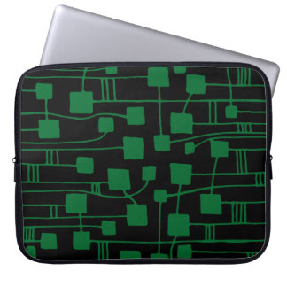 Abstract 111211 - Forest Green on Black Laptop Computer Sleeve