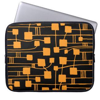 Abstract 111211 - Light Orange on Black Laptop Sleeves