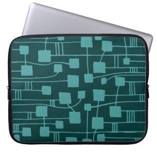 Abstract 111211 - Ocean Green on Dk Green Laptop Sleeve