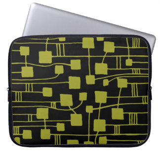 Abstract 111211 - Olive on Black Computer Sleeve