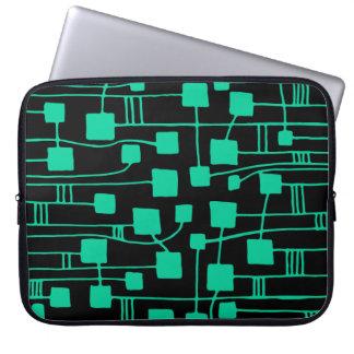 Abstract 111211 - Sea Green on Black Computer Sleeve