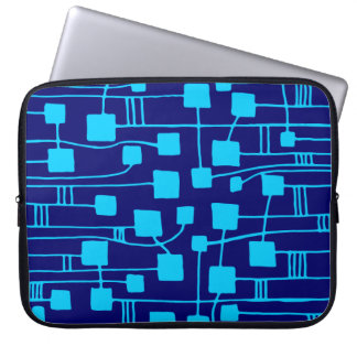 Abstract 111211 - Sky Blue on Dp Navy Laptop Computer Sleeves