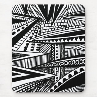 Abstract 25 - Black and White Mouse Pad