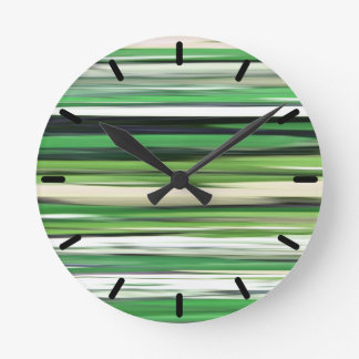 Abstract #2: Green blur Round Clock