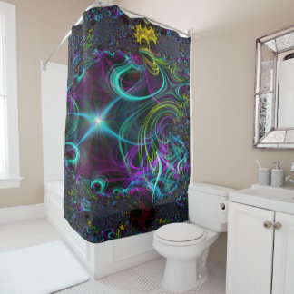 abstract 32 fractal shower curtain