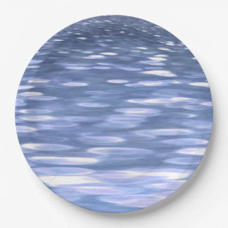 Abstract #3: Powder blue shimmer Paper Plate