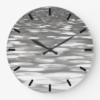 Abstract #3: Silver grey shimmer Large Clock