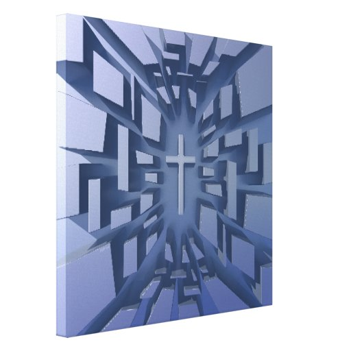 Abstract 3D Christian Cross Stretched Canvas Prints