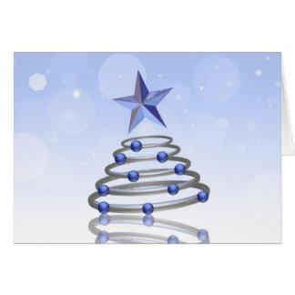 Abstract 3D Chrome Christmas Tree - Greeting Card