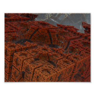 "Abstract 3D Fractal Art - ""Cubits"" Poster"